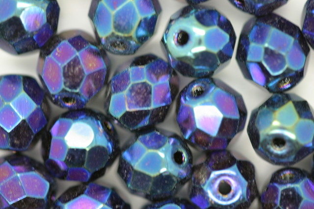 8mm Czech Fire Polished Facet Beads Blue Iris 10g