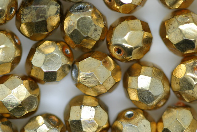 8mm Czech Fire Polished Facet Beads Gold 10g