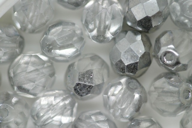 8mm Czech Fire Polished Facet Beads Silver 100g