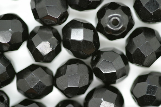 8mm Czech Fire Polished Facet Beads Black Op 10g
