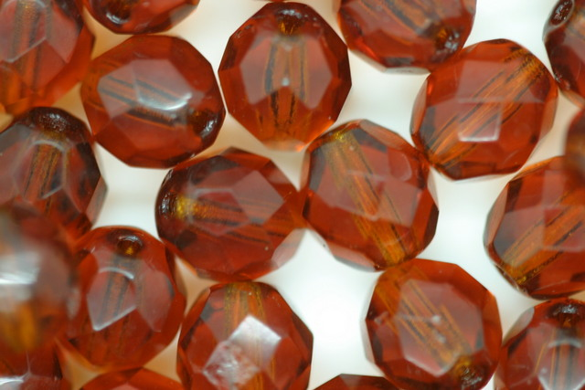 8mm Czech Fire Polished Facet Beads Amber 10g