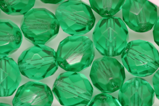 8mm Czech Fire Polished Facet Beads Green Bulk