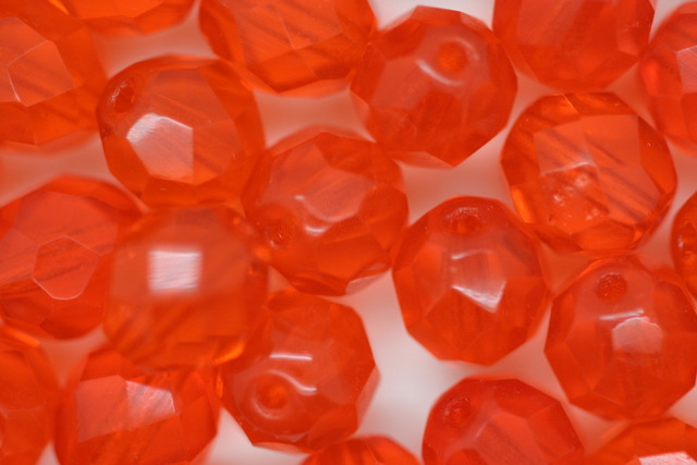 8mm Czech Fire Polished Facet Beads Orange 100g