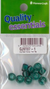 Glass Pony Bead Transparent Teal 10 pieces