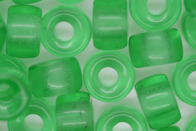 Glass Pony Bead Transparent Green 100 beads