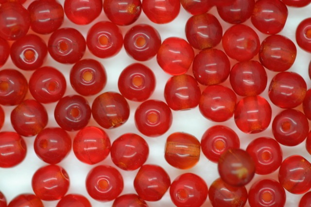 4mm Czech Round Bead; Transparent Red 25 grams