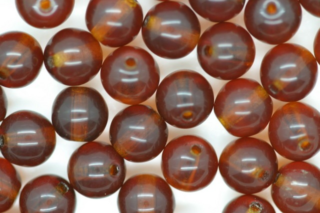 6mm Czech Round Bead; Transparent Brown Bulk
