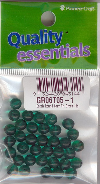 6mm Czech Round Bead; Transparent Green 10 grams
