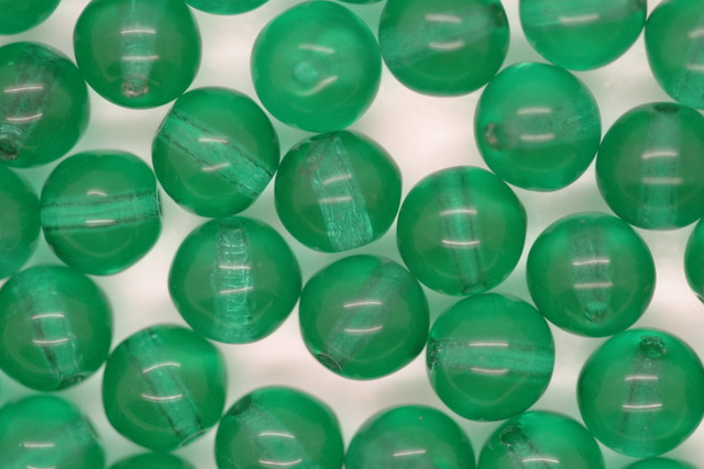 6mm Czech Round Bead; Transparent Green Bulk