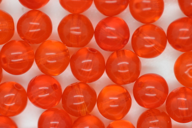 6mm Czech Round Bead; Transparent Orange 50 grams