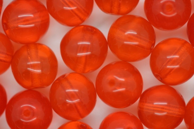 8mm Czech Round Bead; Transparent Orange Bulk