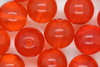 10mm Czech Round Bead; Transparent Orange 100 grams