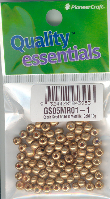 Czech Seed 5/0M R Metallic; Gold 10g