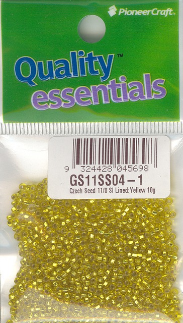 Czech Seed 11/0sls Silver Lined; Yellow 10g