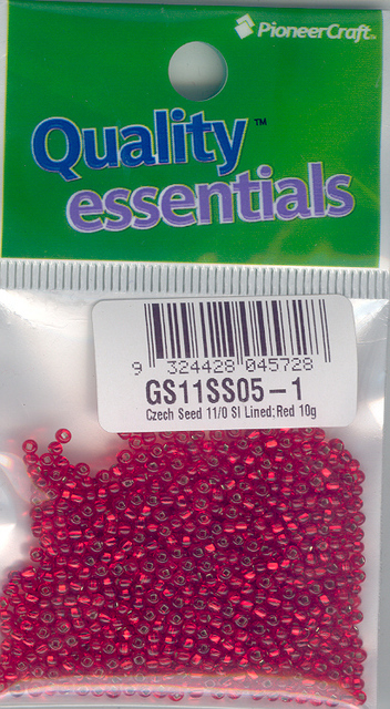 Czech Seed 11/0sls Silver Lined; Red 10g