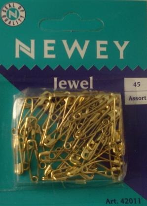 Safety Pins Brass Midget 45 Asst