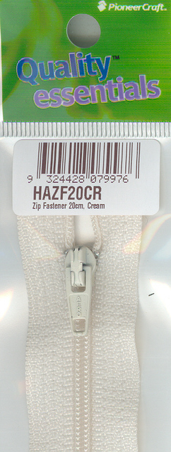 Zip Fastener 20cm, Cream No3 Closed End