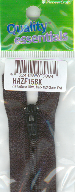 Zip Fastener 15cm, Black No3 Closed End