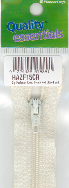 Zip Fastener 15cm, Cream No3 Closed End