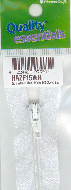 Zip Fastener 15cm, White No3 Closed End