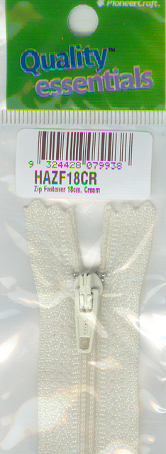 Zip Fastener 18cm, Cream No3 Closed End