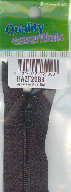 Zip Fastener 20cm, Black No3 Closed End