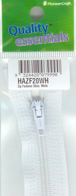 Zip Fastener 20cm, White No3 Closed End
