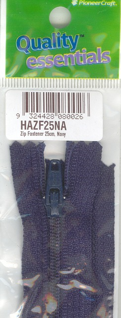 Zip Fastener 25cm, Navy No3 Closed End