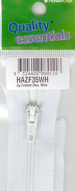 Zip Fastener 35cm, White No3 Closed End