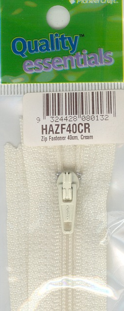 Zip Fastener 40cm, Cream No3 Closed End