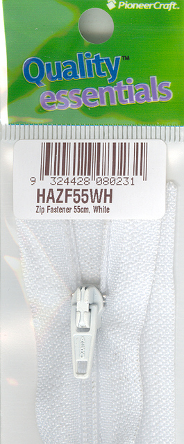 Zip Fastener 55cm, White No3 Closed End