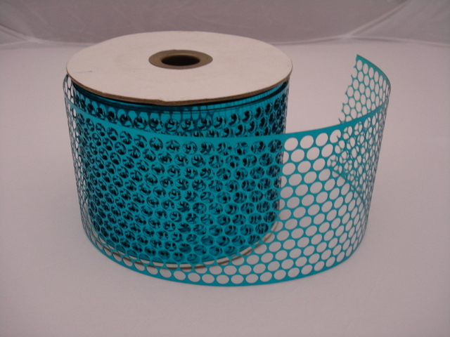 Honeycomb Sequin Ribbon 85mm wide, 45m roll; Blue