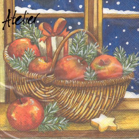 DecoArt Decor Napkin Basket of Apples. 20p.