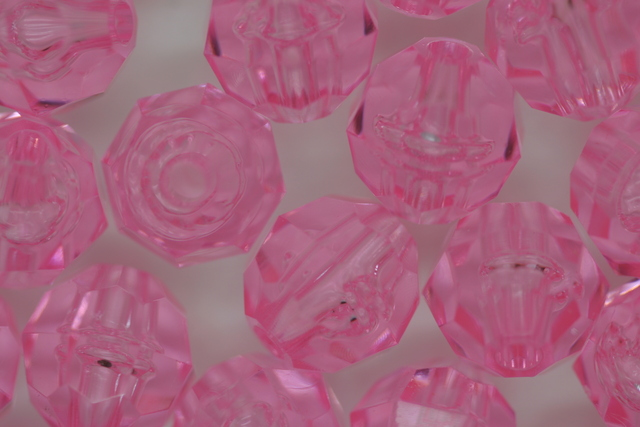 10mm Facet Transparent; Soft Pink 250g (approx 500p)