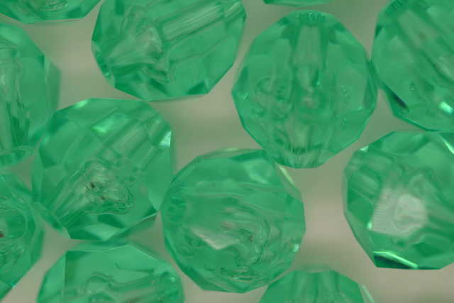 12mm Facet Transparent; Green Aqua 250g (approx 330p)