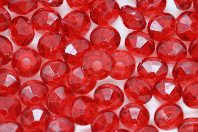 Rondelle 6mm Transparent 100 grams; Ruby