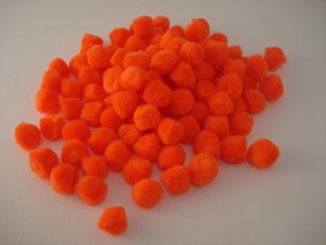Pom Poms / Chenille Poms/ 13mm Orange