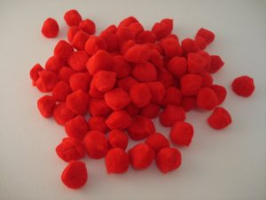 Pom Poms / Chenille Poms/ 13mm Red