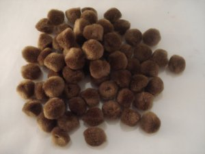 Pom Poms / Chenille Poms/ 25mm Brown