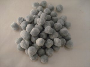 Pom Poms / Chenille Poms/ 25mm Grey