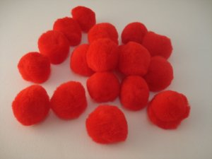 Pom Poms / Chenille Poms/ 38mm Red