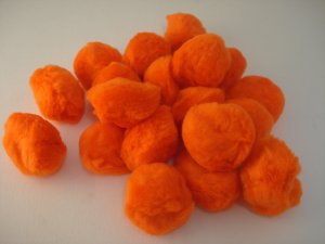 Pom Poms / Chenille Poms/ 50mm Orange
