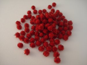 13mm Glitter Pom Pom 100p; Red