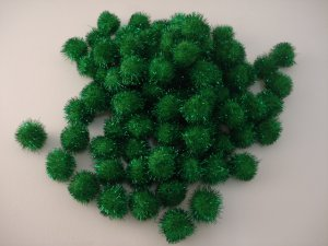 20mm Glitter Pom Pom 100p; Green