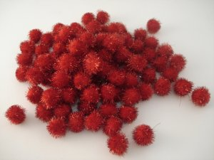 20mm Glitter Pom Pom 100p; Red