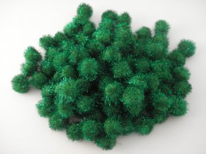 25mm Glitter Pom Pom 100p; Green