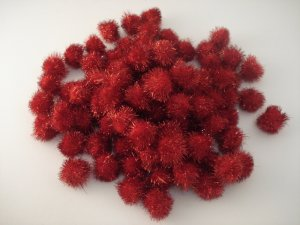 25mm Glitter Pom Pom 100p; Red