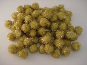 25mm Glitter Pom Pom 100p; Yellow
