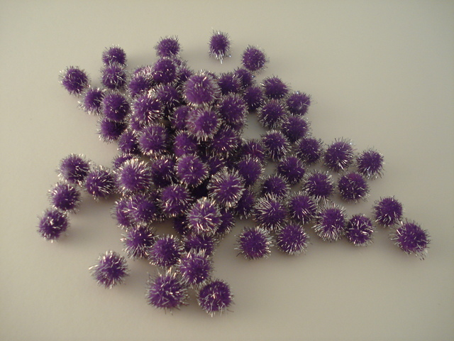 13mm Glitter Pom Pom 100p; Purple