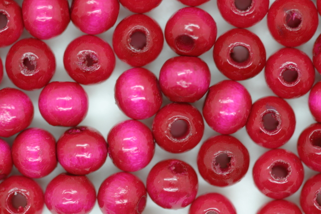 Wooden Beads, 6mm, 100 pieces, Hot Pink (2mm hole)